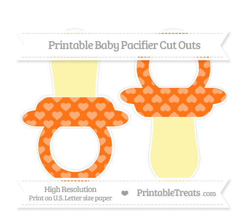Free Pumpkin Orange Heart Pattern Large Baby Pacifier Cut Outs