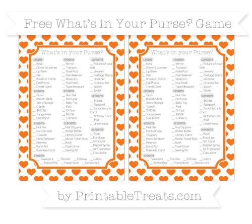 Free Pumpkin Orange Heart Pattern What's in Your Purse Baby Shower Game