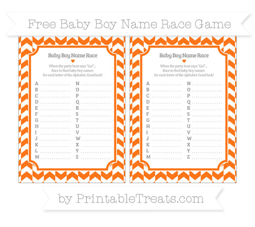 Free Pumpkin Orange Herringbone Pattern Baby Boy Name Race Game