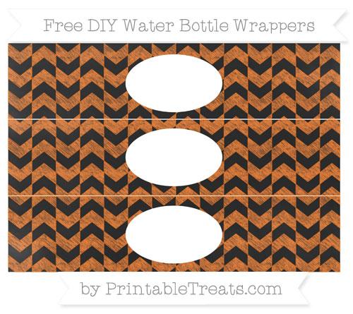 Free Pumpkin Orange Herringbone Pattern Chalk Style DIY Water Bottle Wrappers