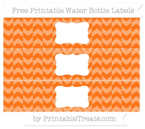 Free Pumpkin Orange Herringbone Pattern Water Bottle Labels