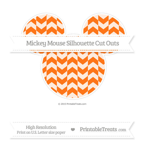 Free Pumpkin Orange Herringbone Pattern Extra Large Mickey Mouse Silhouette Cut Outs