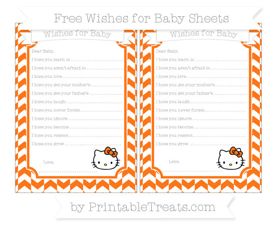 Free Pumpkin Orange Herringbone Pattern Hello Kitty Wishes for Baby Sheets