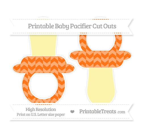 Free Pumpkin Orange Herringbone Pattern Large Baby Pacifier Cut Outs