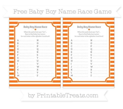 Free Pumpkin Orange Horizontal Striped Baby Boy Name Race Game