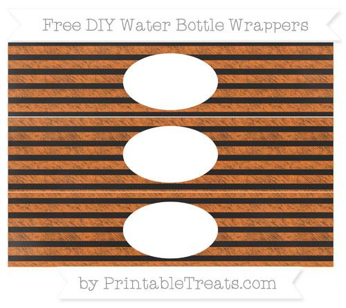 Free Pumpkin Orange Horizontal Striped Chalk Style DIY Water Bottle Wrappers