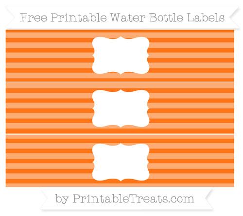 Free Pumpkin Orange Horizontal Striped Water Bottle Labels