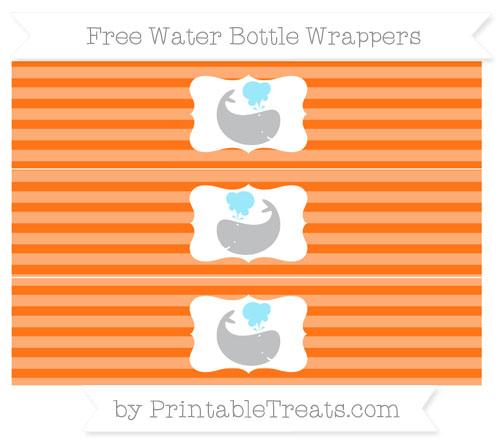 Free Pumpkin Orange Horizontal Striped Whale Water Bottle Wrappers
