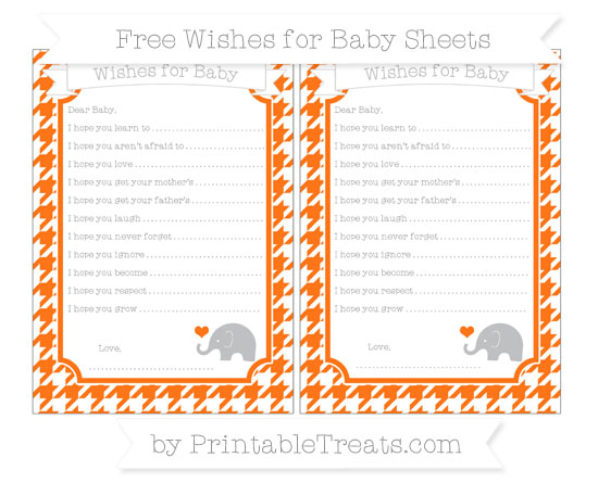 Free Pumpkin Orange Houndstooth Pattern Baby Elephant Wishes for Baby Sheets
