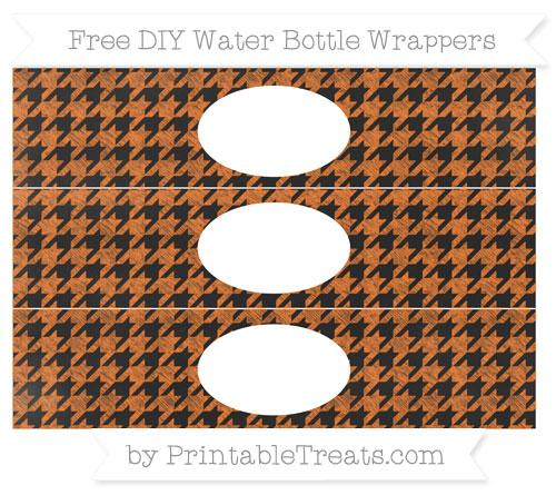Free Pumpkin Orange Houndstooth Pattern Chalk Style DIY Water Bottle Wrappers
