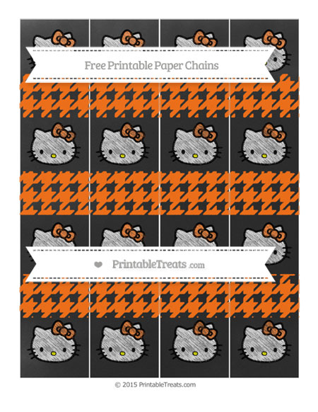 Free Pumpkin Orange Houndstooth Pattern Chalk Style Hello Kitty Paper Chains