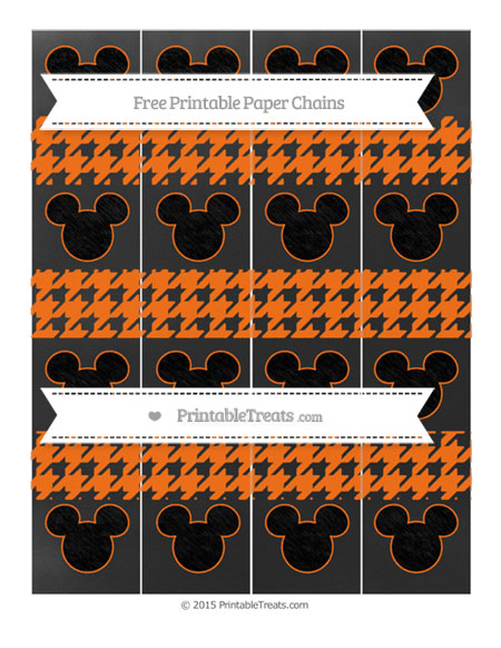 Free Pumpkin Orange Houndstooth Pattern Chalk Style Mickey Mouse Paper Chains
