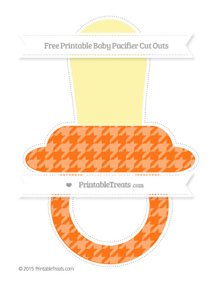 Free Pumpkin Orange Houndstooth Pattern Extra Large Baby Pacifier Cut Outs