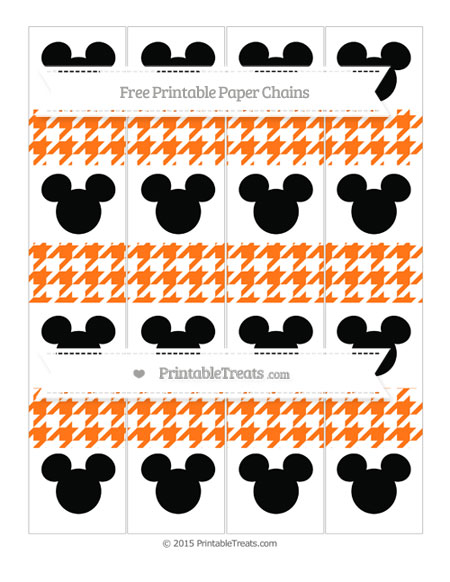 Free Pumpkin Orange Houndstooth Pattern Mickey Mouse Paper Chains