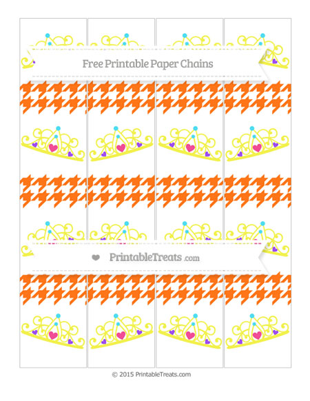 Free Pumpkin Orange Houndstooth Pattern Princess Tiara Paper Chains