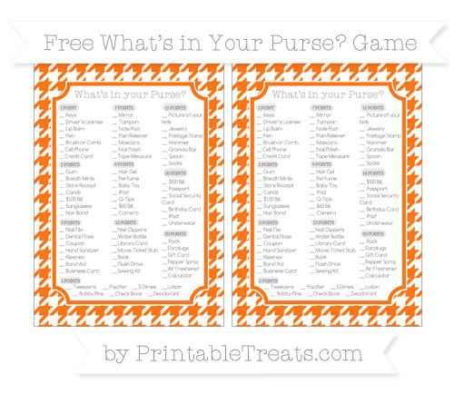 Free Pumpkin Orange Houndstooth Pattern What's in Your Purse Baby Shower Game