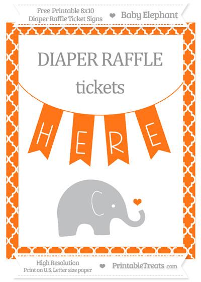 Free Pumpkin Orange Moroccan Tile Baby Elephant 8x10 Diaper Raffle Ticket Sign