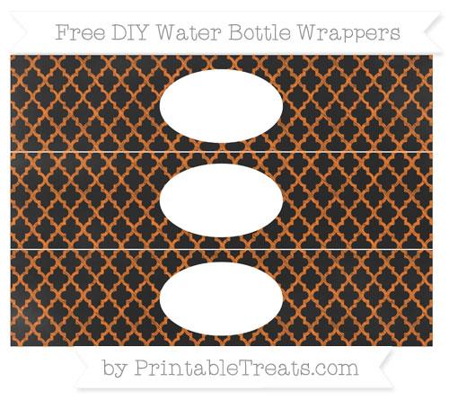Free Pumpkin Orange Moroccan Tile Chalk Style DIY Water Bottle Wrappers