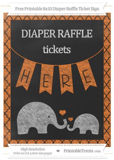 Free Pumpkin Orange Moroccan Tile Chalk Style Elephant 8x10 Diaper Raffle Ticket Sign