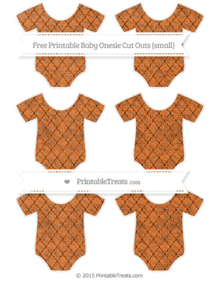 Free Pumpkin Orange Moroccan Tile Chalk Style Small Baby Onesie Cut Outs