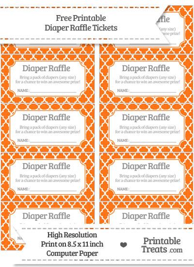 Free Pumpkin Orange Moroccan Tile Diaper Raffle Tickets