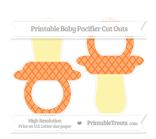 Free Pumpkin Orange Moroccan Tile Large Baby Pacifier Cut Outs