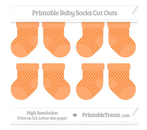 Free Pumpkin Orange Moroccan Tile Small Baby Socks Cut Outs