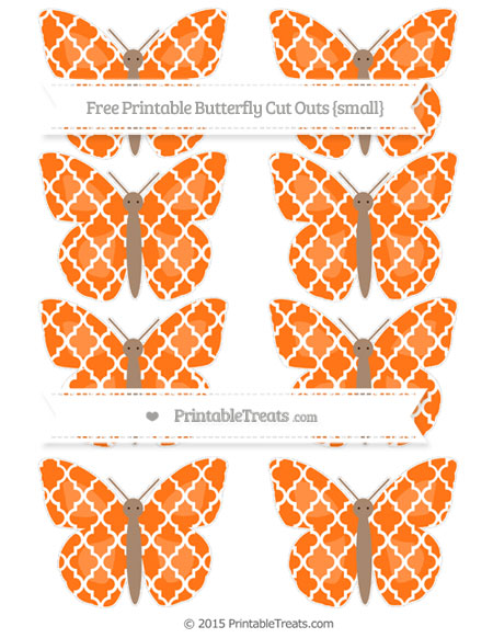 Free Pumpkin Orange Moroccan Tile Small Butterfly Cut Outs