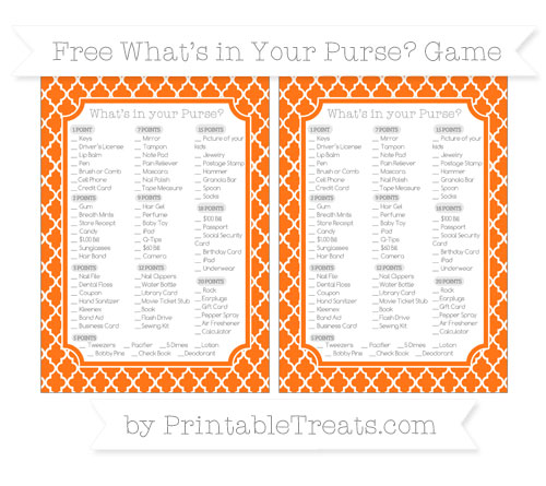 Free Pumpkin Orange Moroccan Tile What's in Your Purse Baby Shower Game