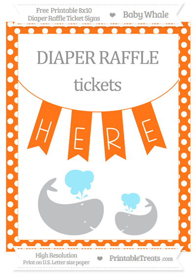 Free Pumpkin Orange Polka Dot Baby Whale 8x10 Diaper Raffle Ticket Sign