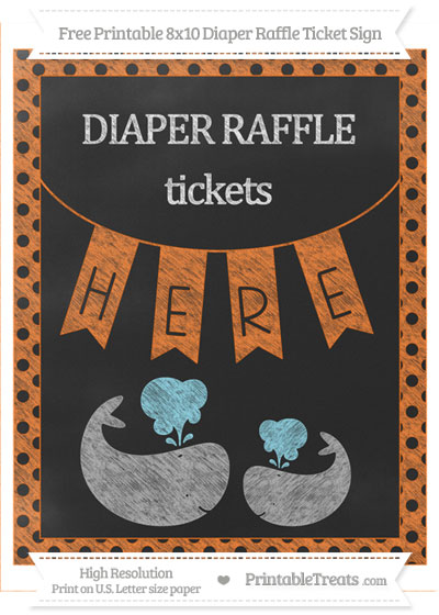 Free Pumpkin Orange Polka Dot Chalk Style Baby Whale 8x10 Diaper Raffle Ticket Sign