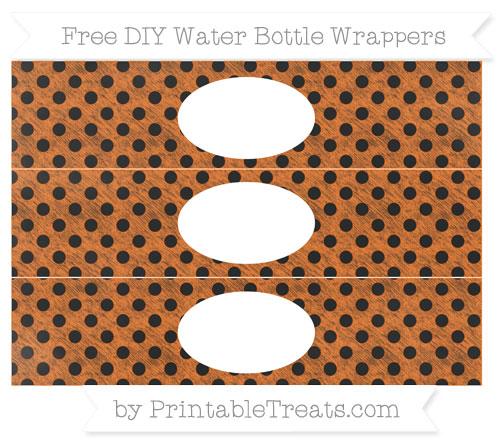 Free Pumpkin Orange Polka Dot Chalk Style DIY Water Bottle Wrappers