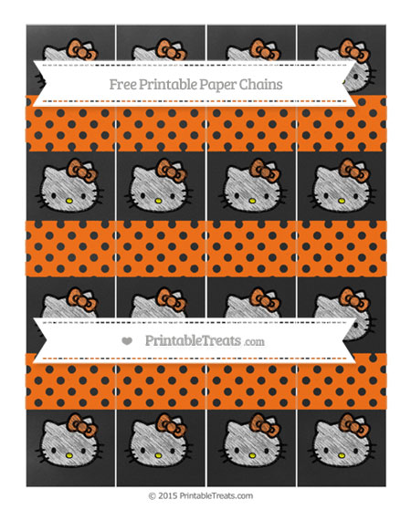 Free Pumpkin Orange Polka Dot Chalk Style Hello Kitty Paper Chains
