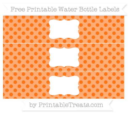 Free Pumpkin Orange Polka Dot Water Bottle Labels