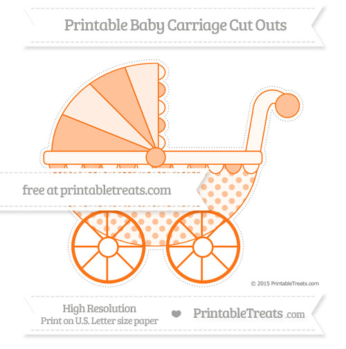 Free Pumpkin Orange Polka Dot Extra Large Baby Carriage Cut Outs