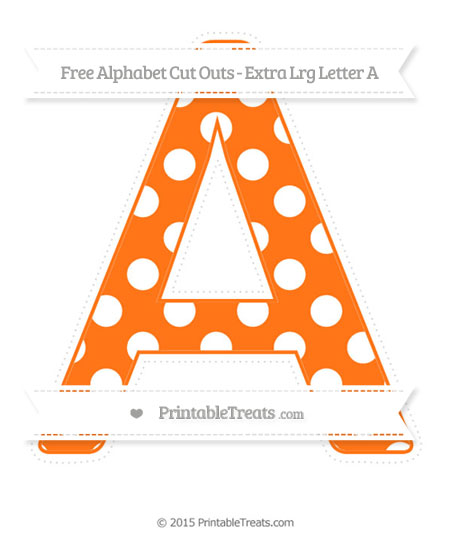 Free Pumpkin Orange Polka Dot Extra Large Capital Letter A Cut Outs