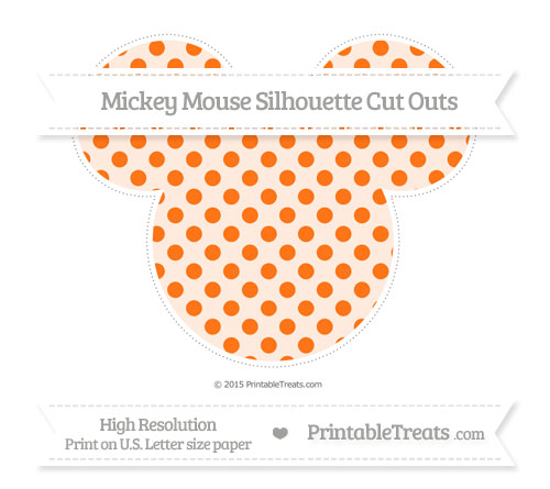 Free Pumpkin Orange Polka Dot Extra Large Mickey Mouse Silhouette Cut Outs