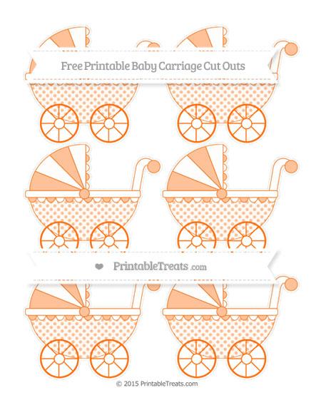 Free Pumpkin Orange Polka Dot Small Baby Carriage Cut Outs
