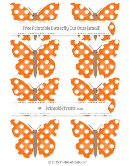 Free Pumpkin Orange Polka Dot Small Butterfly Cut Outs