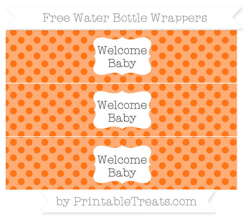 Free Pumpkin Orange Polka Dot Welcome Baby Water Bottle Wrappers