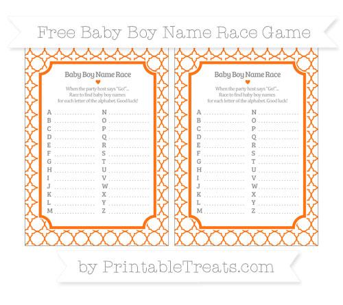 Free Pumpkin Orange Quatrefoil Pattern Baby Boy Name Race Game