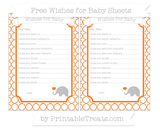 Free Pumpkin Orange Quatrefoil Pattern Baby Elephant Wishes for Baby Sheets