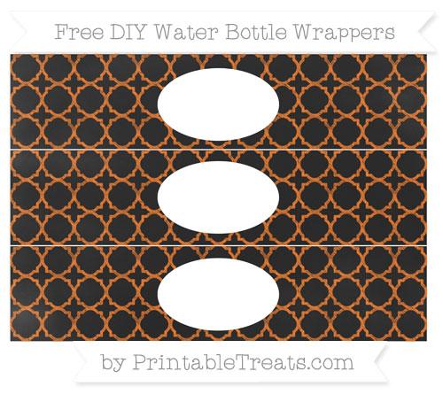Free Pumpkin Orange Quatrefoil Pattern Chalk Style DIY Water Bottle Wrappers