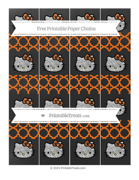 Free Pumpkin Orange Quatrefoil Pattern Chalk Style Hello Kitty Paper Chains