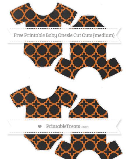 Free Pumpkin Orange Quatrefoil Pattern Chalk Style Medium Baby Onesie Cut Outs