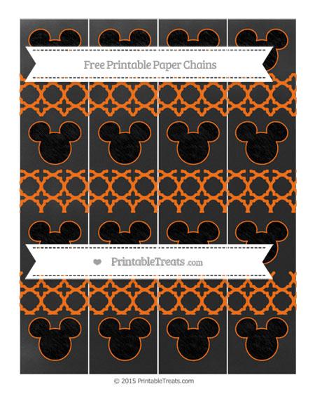 Free Pumpkin Orange Quatrefoil Pattern Chalk Style Mickey Mouse Paper Chains
