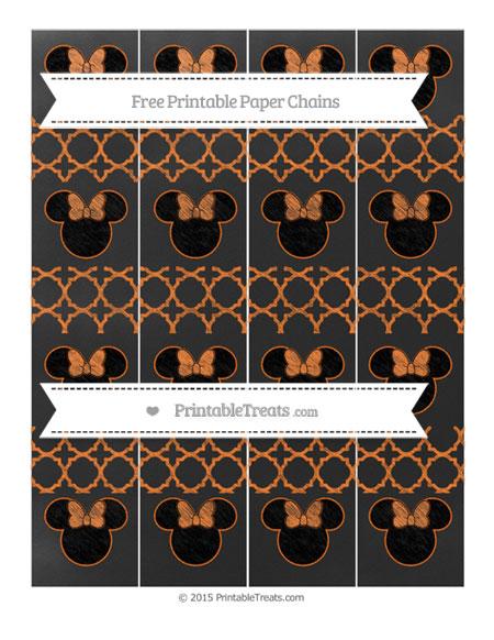 Free Pumpkin Orange Quatrefoil Pattern Chalk Style Minnie Mouse Paper Chains