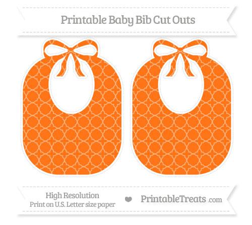 Free Pumpkin Orange Quatrefoil Pattern Large Baby Bib Cut Outs