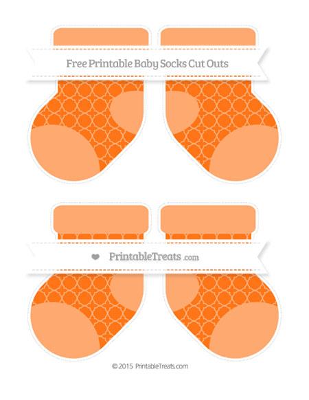 Free Pumpkin Orange Quatrefoil Pattern Medium Baby Socks Cut Outs
