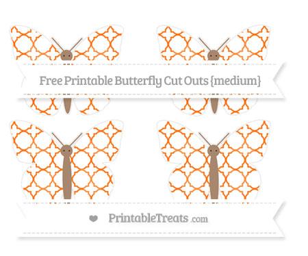 Free Pumpkin Orange Quatrefoil Pattern Medium Butterfly Cut Outs